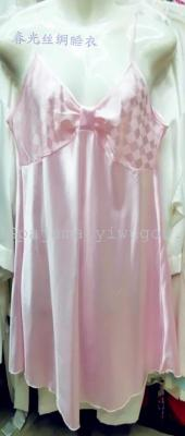 Sexy summer dress ladies cute Pink Plaid Jacquard silk pajamas suspenders ice silk nightdress ladies Two Piece Set