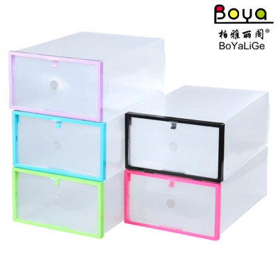 Color frame wrapped plastic drawer type shoe box PP plastic transparent shoebox multifunctional storage