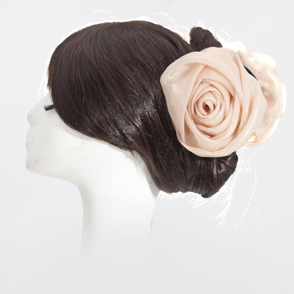 0607667761 Hot Sale Organza Rose Flower Hair Clip Cambo Khaleeji Hair Clamp Volumiser  For Hijab Scarf 12CM