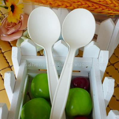 Disposable spoon long handle hard spoon dessert Smoothie 8-inch soup spoon cornstarch RS-6692