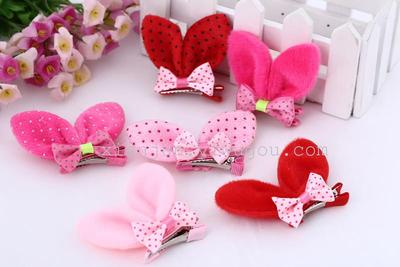 Wholesale new stereo hairpin clip jewelry rabbit ears on clips of children Christmas factory outlet