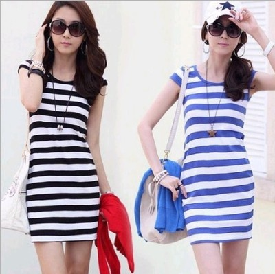 New dresses and summer women's striped bag hip slimming dresses, slim skirts