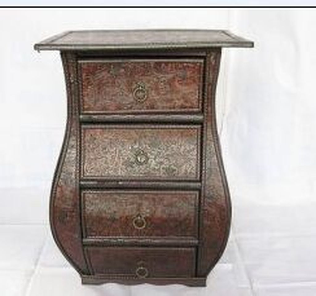 Supply Chinese Antique Solid Wood Bedside Minimalist Leather