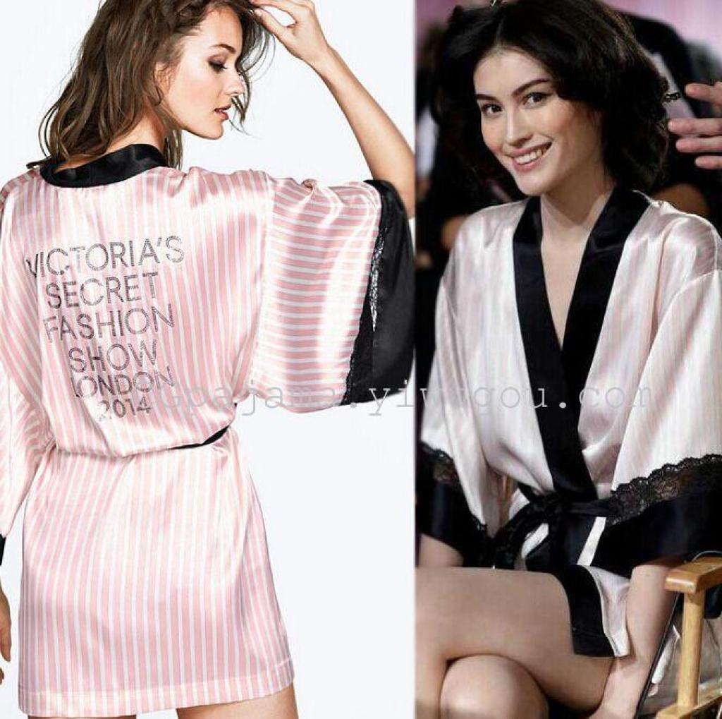 Supply Victoria Secret Summer Short Sleeve Silk Lace Stripes Alpha Hot Drilling Nightgown Pajamas