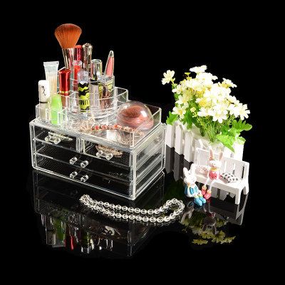 Multi-layer crystal transparent cosmetics skin care cosmetic cotton pad tools jewelry box storage box