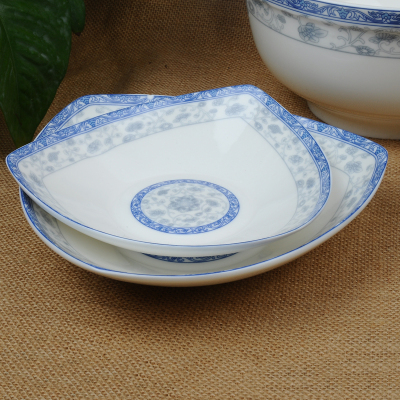Manufacturers direct glazed bone China triangle plate cold dishes high-end tableware
