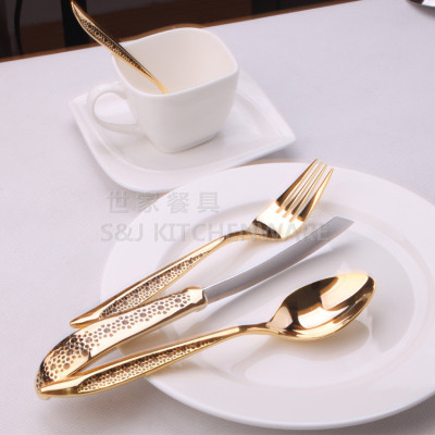 Authentic stainless steel cutlery gold-plated forks Western-style Food Spoon steak knife