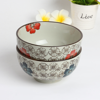 Creative ceramic bowl inner color stoneware ceramic bowl wholesale 5 inch paunch bowl spot supply