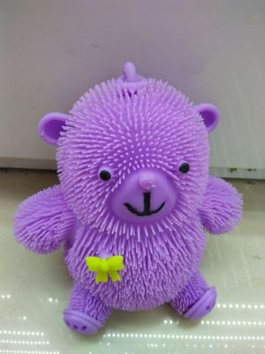 Purple bear Mao Maoxiong TPR soft toys factory direct light bow sitting bear