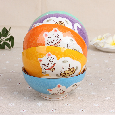 Lucky cat five sets of cartoon high-tech gifts manufacturers direct bowl set tableware