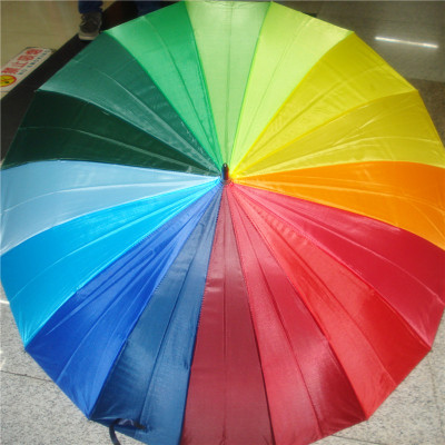 Korean Style Long Handle Rainbow Umbrella 16 Bone Plain Long Handle Umbrella Oversized Windproof Straight Umbrella