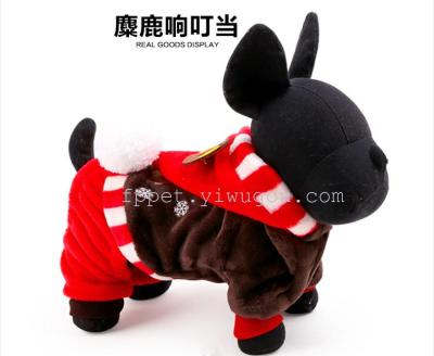 Pet elk jingle coat hat dog cute sweater coat feet pet pet supplies