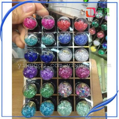 Hollow glass bead ball stud earrings double bubble resin round diamond jewelry accessories