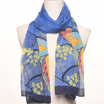Sun protection lady's air conditioning cape butterfly printed long chiffon silk scarf beach towel.