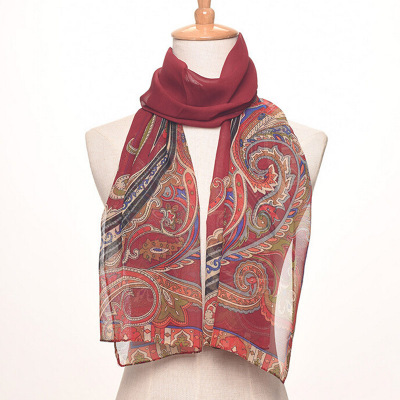The National wind lady flowers chiffon medium long silk scarf printing air conditioner sun - proof shawl.
