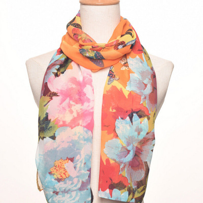 Butterfly print long silk scarf summer sun protection office air conditioning cape fashion.