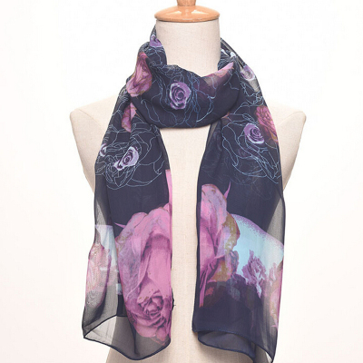 Medium - length chiffon silk scarf lady printed scarf suntan shawl beach towel.