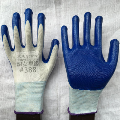 388 star 13 pin edge genuine blazing nylon nitrile dipping oil resistant working gloves Yiwu Xing Yu