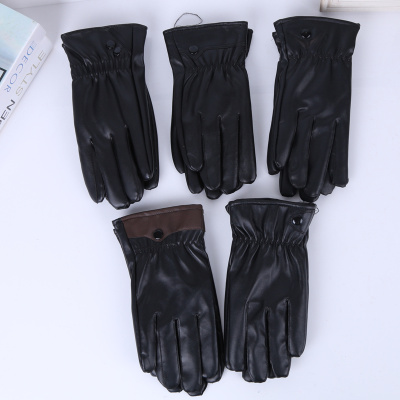 Imitation leather gloves with warm gloves and thick warm short gloves.