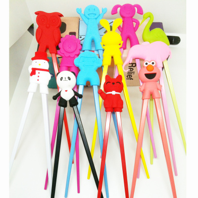 Korean cartoon children head chopstick doll learning training silicone chopsticks chopsticks factory