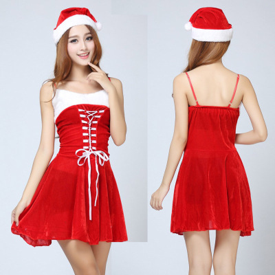 Sexy red Bunny Christmas clothing dovetail ladies dress uniforms.