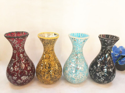 Glass mosaic vase ornaments