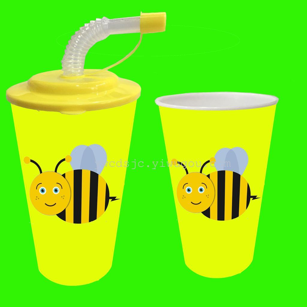 Supply The supply of PP plastic cup 3D cup cup Straw 3D animal
