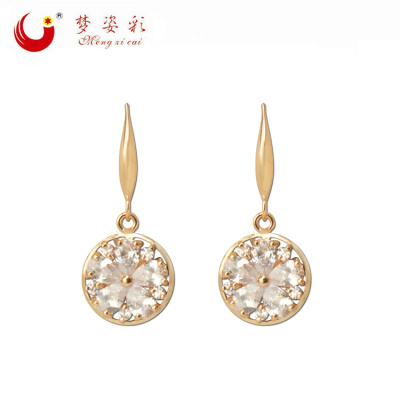 2016 new European foreign trade fashion earrings round high-grade Zircon Earrings