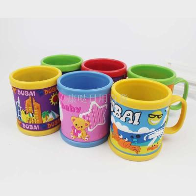 Plastic stereo PVC soft rubber plastic cartoon Mug customizable children toothbrush cup