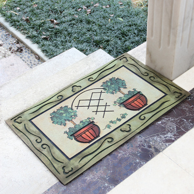 Continental retro embossed door mat flocking rubber cushion wear-resistant anti-skid pad against soil