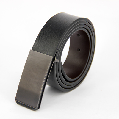 Trousers belt men's leather fashionable smooth button belt fashion men's real leather belt buckle one piece of hair.