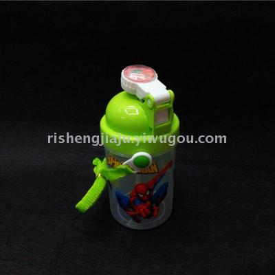 Elastic cover cartoon printing straw pot / transparent children suction kettle RS-200460