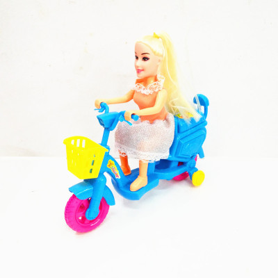 The children of novelty toys pull electric motorcycle with bags of children puzzle doll toys