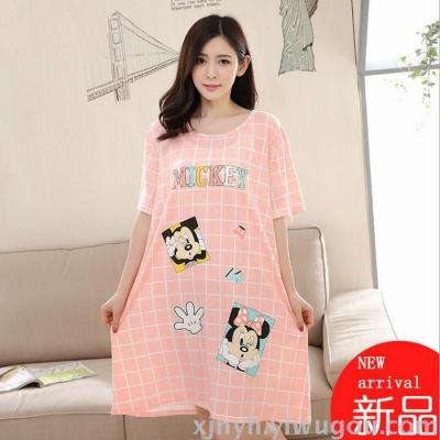 Summer plus fertilizer to increase cotton short - sleeved sleep dress lady pajamas cute cartoon Korean version