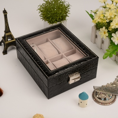 The new PU watch box large skylight watch display box manufacturers straight hair