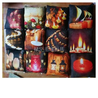 Luminous Candle Pillow Cushion Candlestick Pillow Flame Plush Toy Simulation