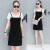 2017 summer new hit color stitching round neck Slim lady A dress skirt dress with two pieces