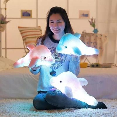 Glowing LED colorful light Dolphin toy manufacturers doll plush toy pillow music