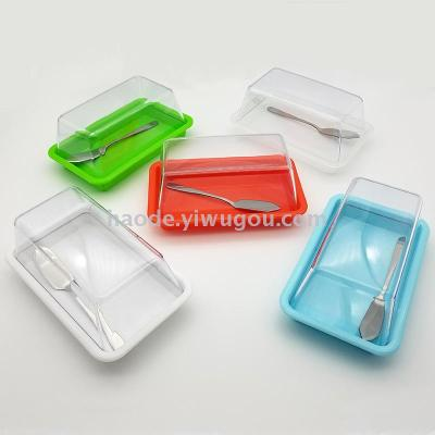 Colorful square transparent cover butter plate export western butter dish rectangular butter plate