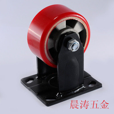 Heavy two-axle aluminum core red Polyurethane casters