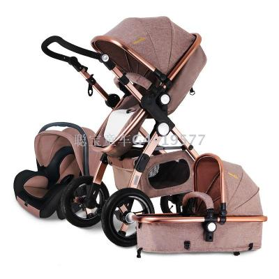 Cong Bao gold baby stroller baby stroller high landscape lay foot folding stroller with basket set
