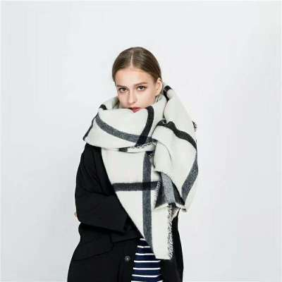 2017 Zara autumn and winter new double-sided plaid shawl scarf in stock
