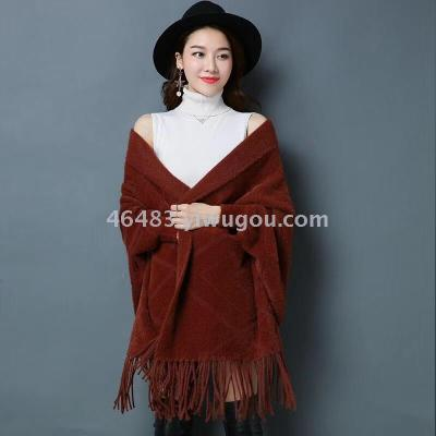 2017 new Korean women's dress dark jacquard cape cape tasseled bat sleeve europe-style scarf