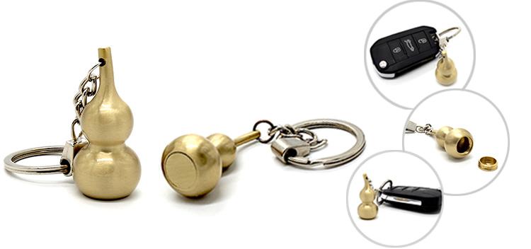 Gold Brass Gourd Keychain Pendant Good Luck HuLu Ornament
