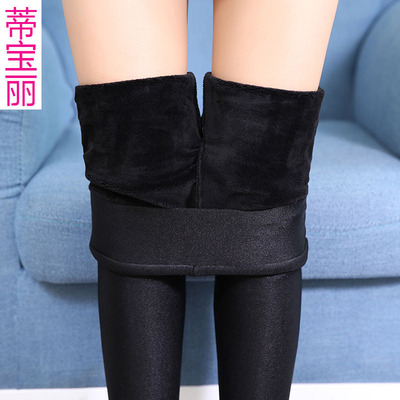 Playing underwear, thickening, winter, high waist gloss pants women wear thin feet warm pants big yards