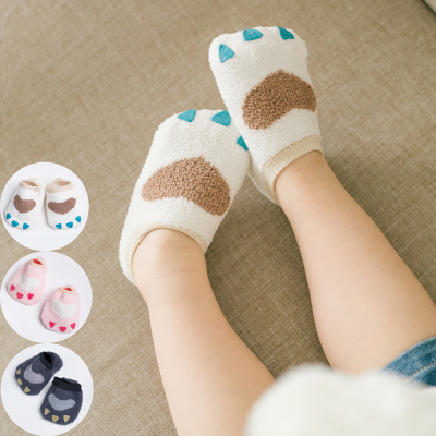 Korean version of children's ship socks coral fleece baby socks cute claw silicone anti-slip infant floor socks