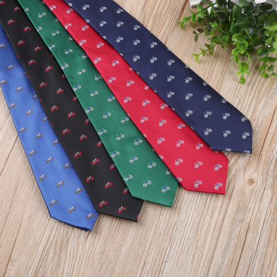 Bicycle pattern decoration multi - color fashion casual tie quality guaranteed golden rabbit tie production.