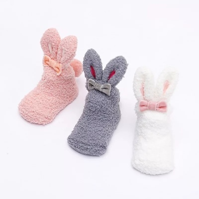 Coral fleece long-eared rabbit, autumn/winter, baby socks, rabbit ears and stockings