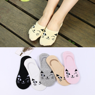 Spring/summer lovely ladies cotton socks, silicone rubber, non-slip socks, shoes, socks, cartoon, and socks