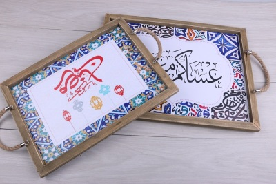 Muslim wooden frame decoration cafe decoration creative wooden decoration